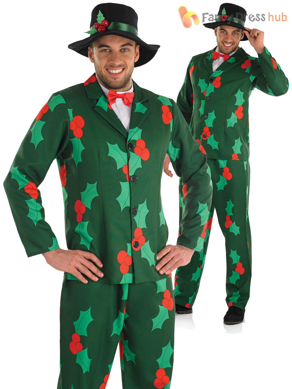 Mens Christmas Suit Festive Print Fancy Dress Funny Stag Xmas ...