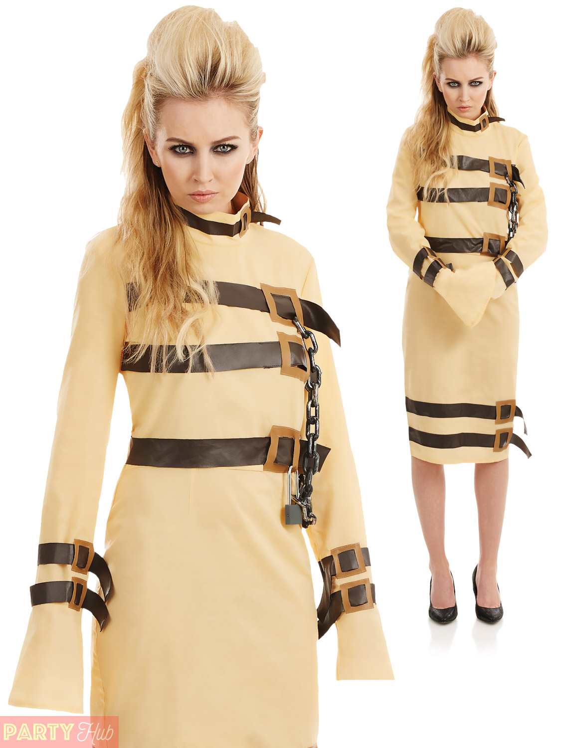 Mens Ladies Escape Artist Straight Jacket Costume Halloween Fancy ...