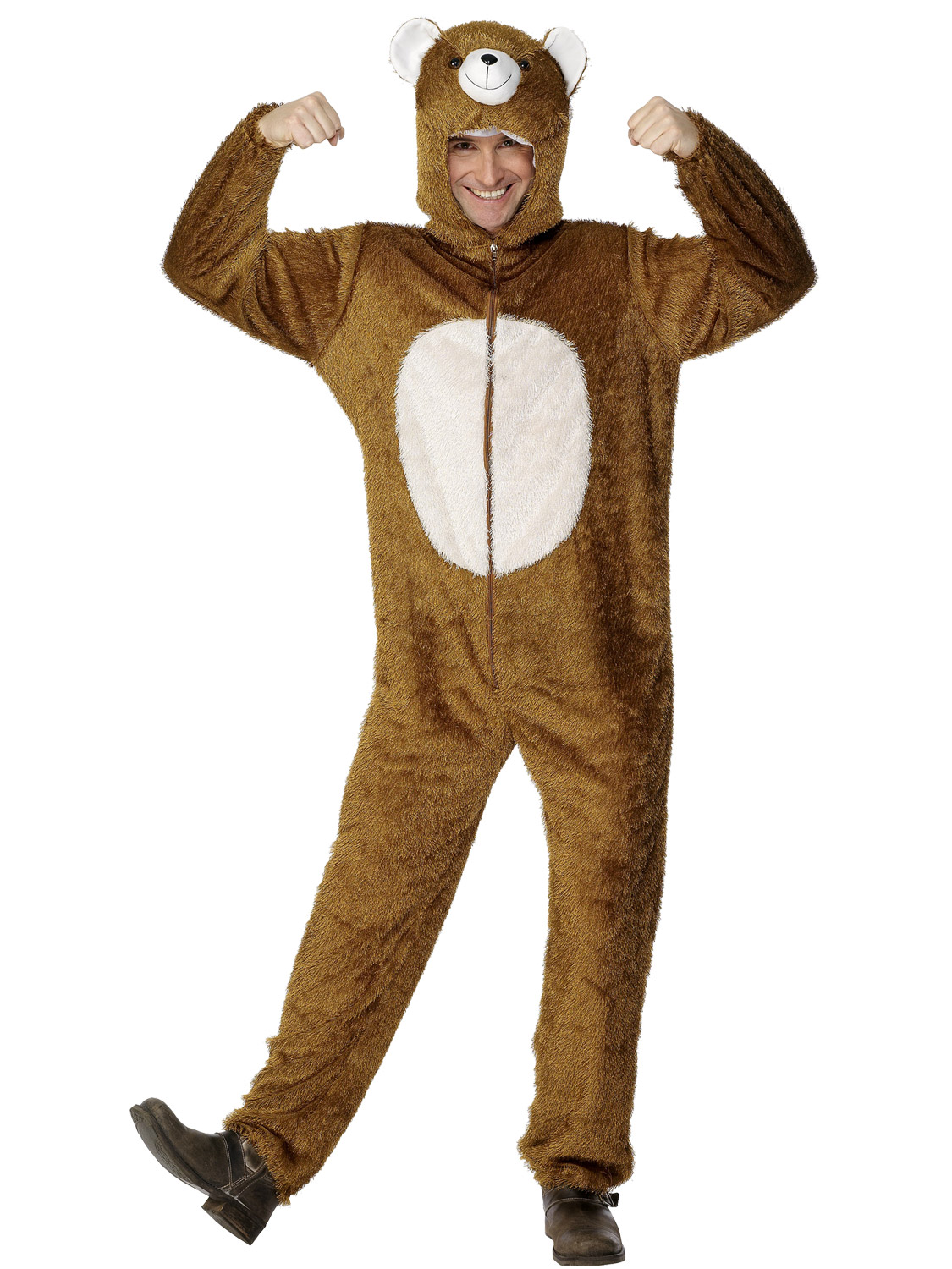 Adult bear costume mens ladies animal fancy dress plush zoo wild transform yourself into a cuddly bear with this adults bear costume its perfect for animal themed parties solutioingenieria Choice Image