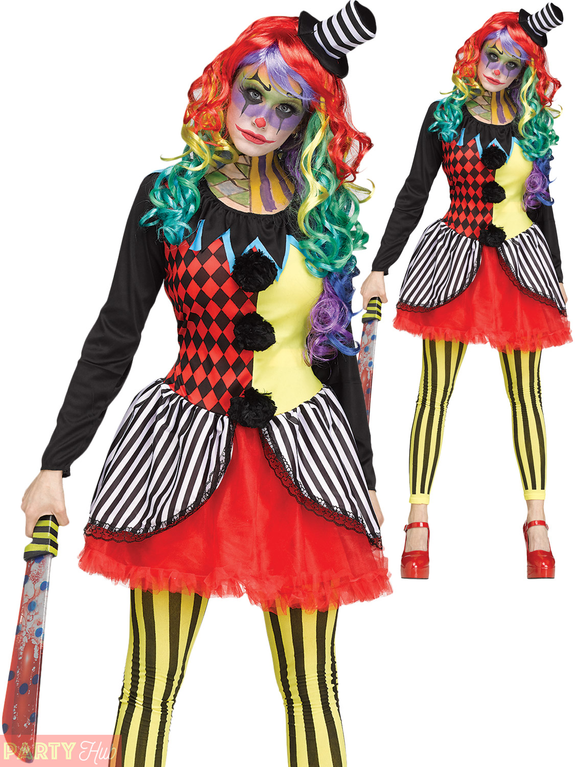 ladies freakshow clown costume adults halloween fancy dress horror circus outfit ebay. Black Bedroom Furniture Sets. Home Design Ideas