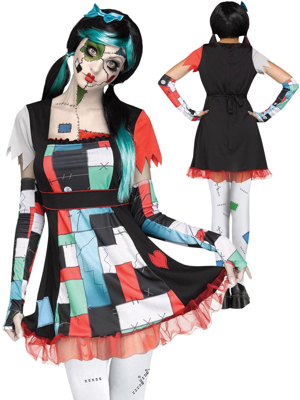 Creepy Voodoo Rag Doll Girls Patchwork Scary Halloween Costume