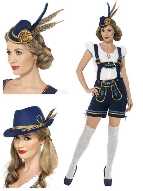 Ladies Deluxe Edelweiss Lederhosen Costume & Hat