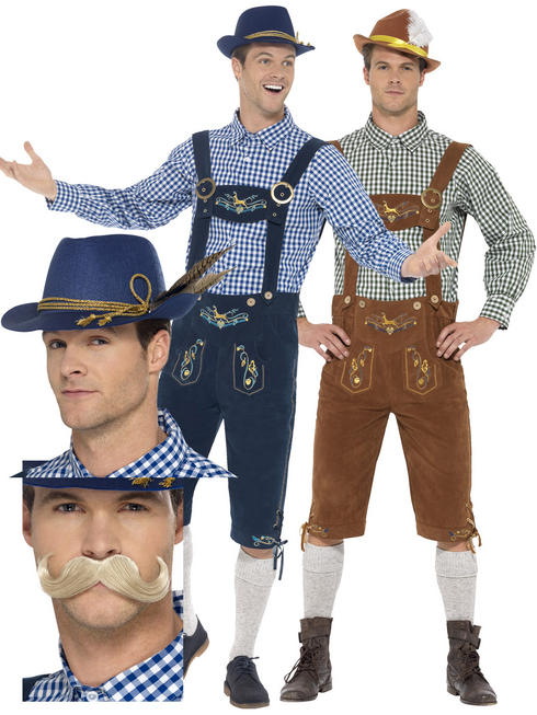 Men's Deluxe Lederhosen Costume Bundle