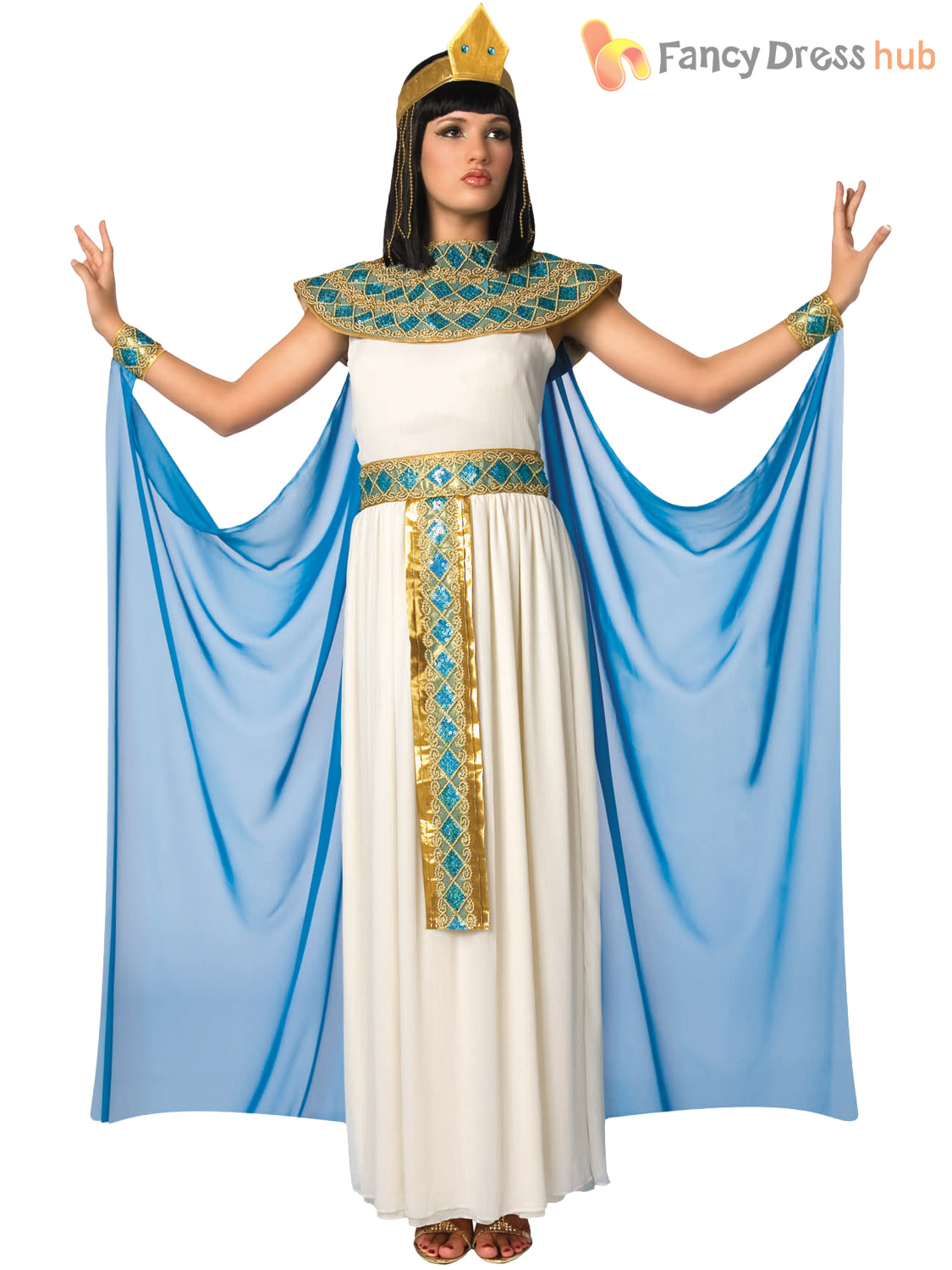Ladies Queen Cleopatra Costume Adults Ancient Egyptian Fancy Dress Womens Outfit