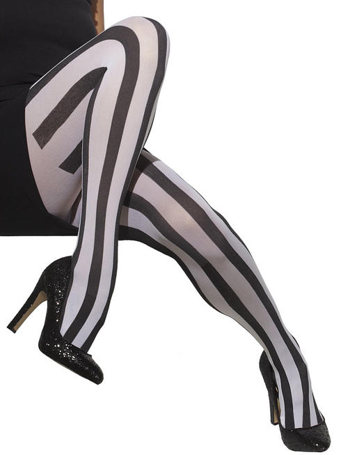 Black & White Vertical Striped Tights