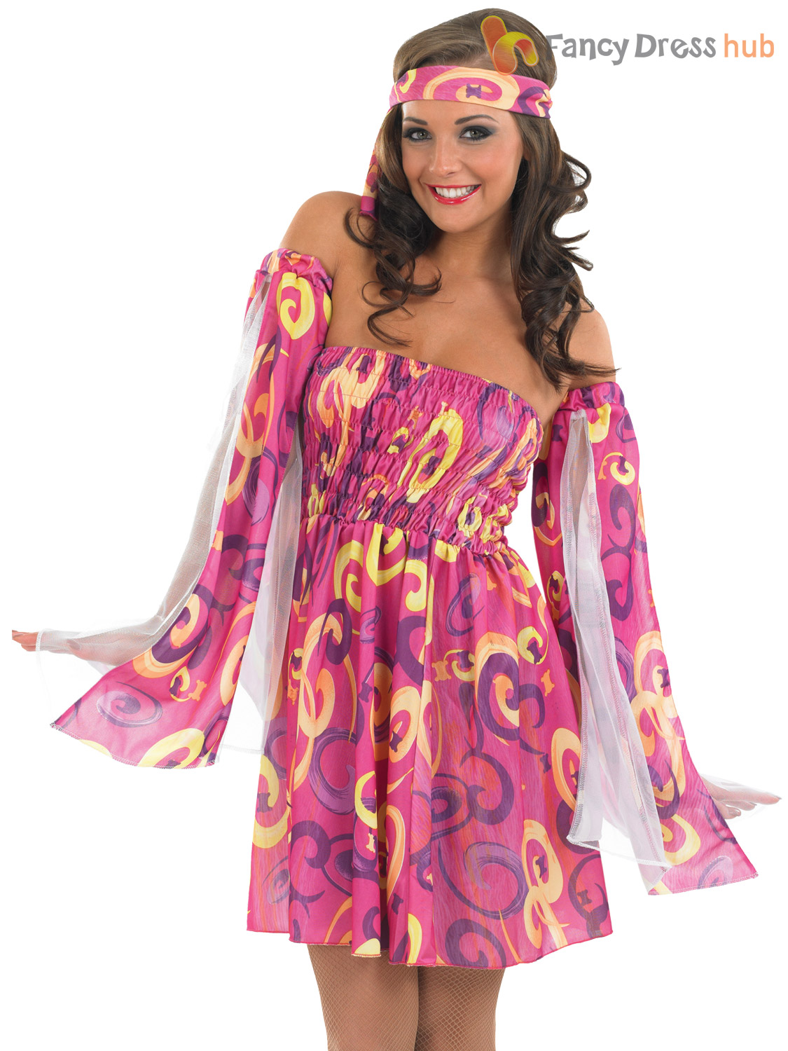 Ladies 1960s Swirl Hippie Fancy Dress Adults Hippy Costume ...