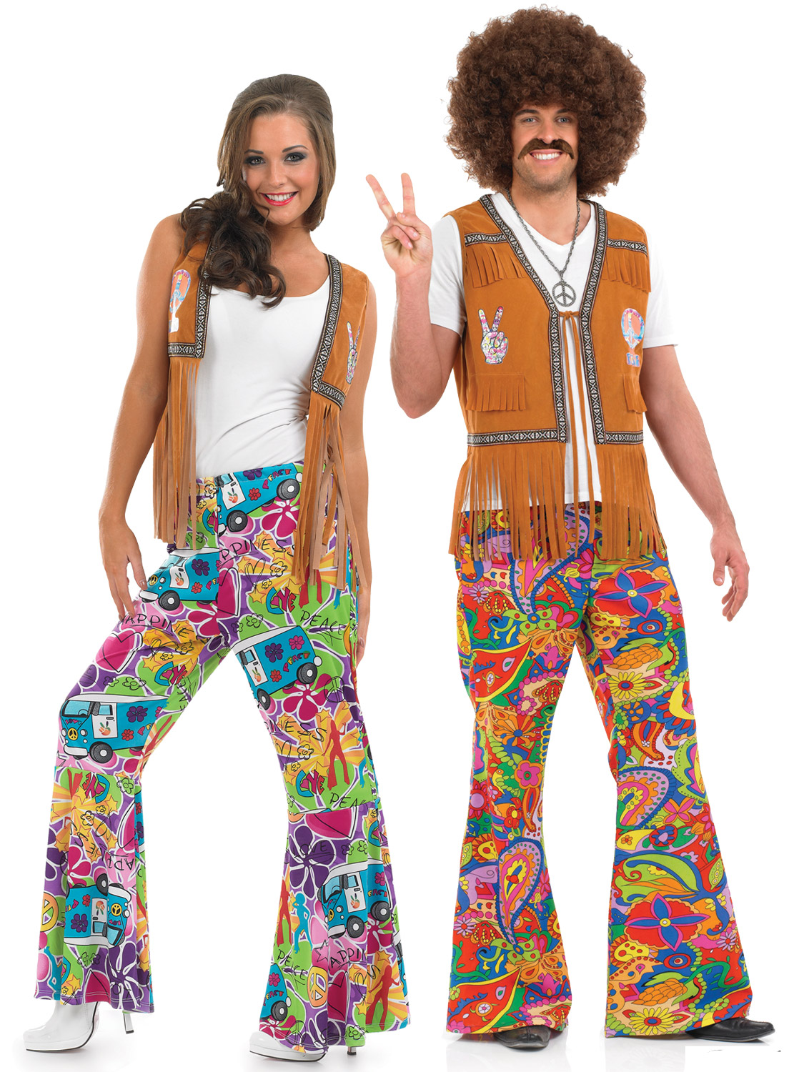 Go back to the 60s with these Mens or Ladies Hippie Flaresu2026 Team is with our Hippie vest to really complete the look.  sc 1 st  eBay & Adults 60s Psychedelic Flares Mens Ladies 70s Hippy Fancy Dress ...