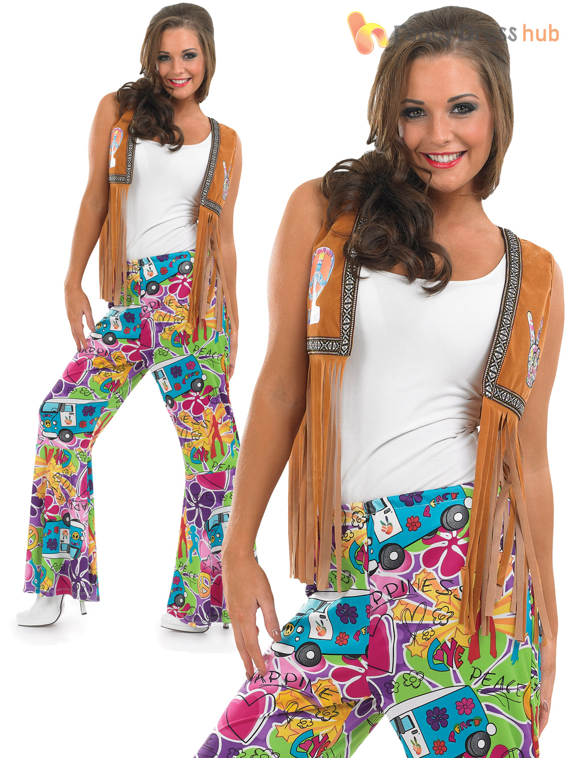 Adults 60s Psychedelic Flares Mens Ladies 70s Hippy Fancy Dress