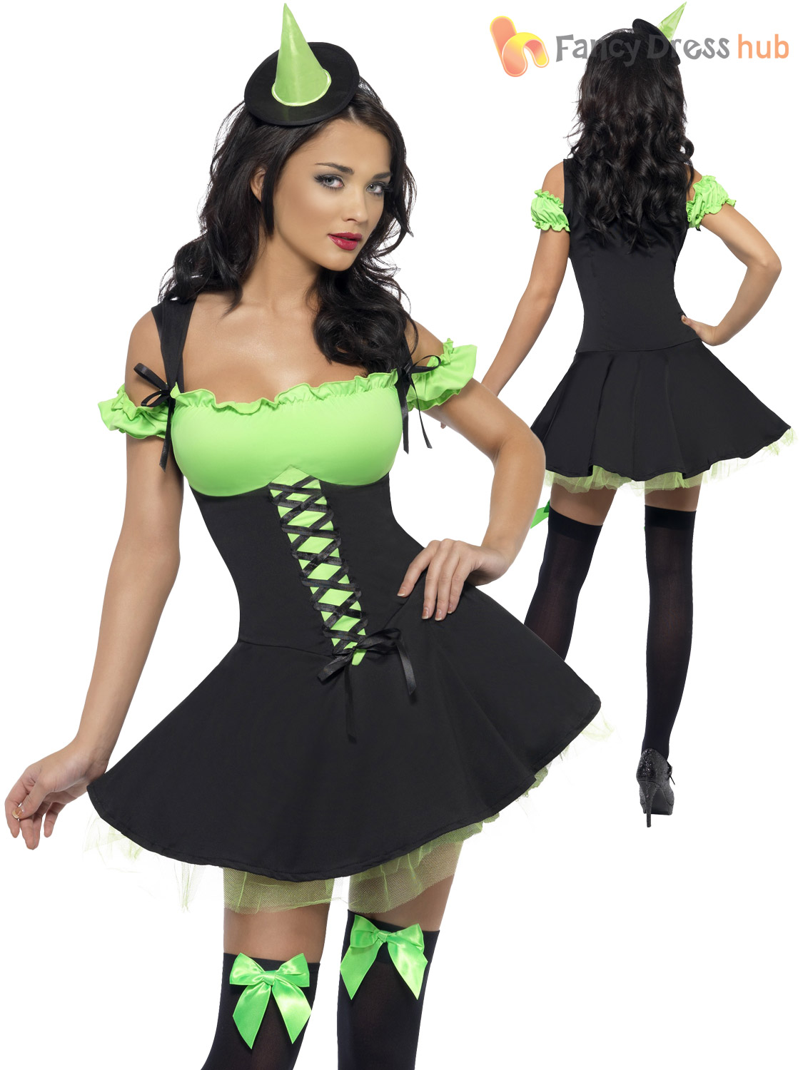 Lades-Fever-Wicked-Witch-Costume-Adult-Halloween-Fancy-  sc 1 st  eBay & Lades Fever Wicked Witch Costume Adult Halloween Fancy Dress Sexy ...