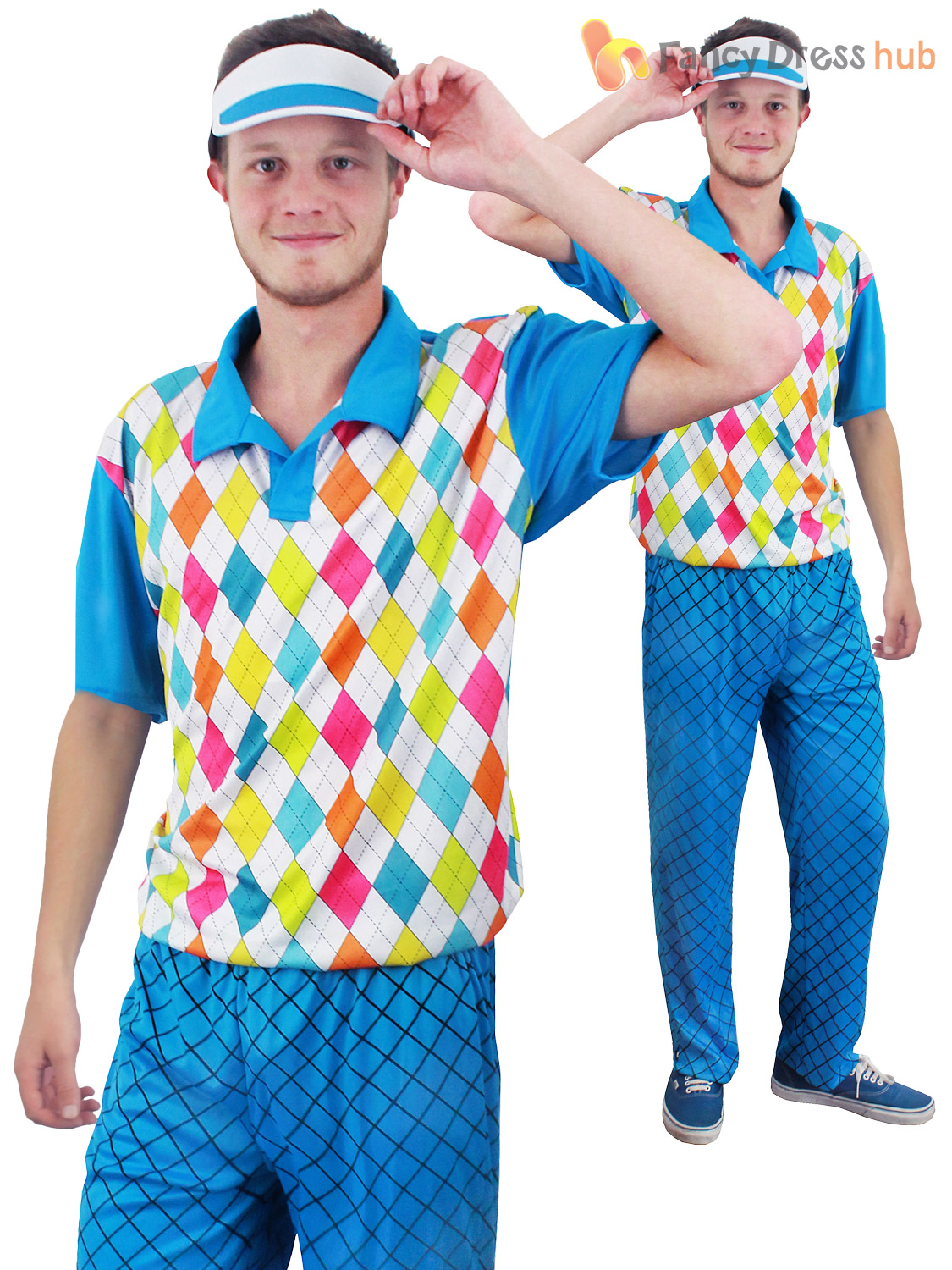 Adult Pub Golf Costume Men Ladies Golfer Fancy Dress Sport Hen Stag ... 9fd49ff52bba