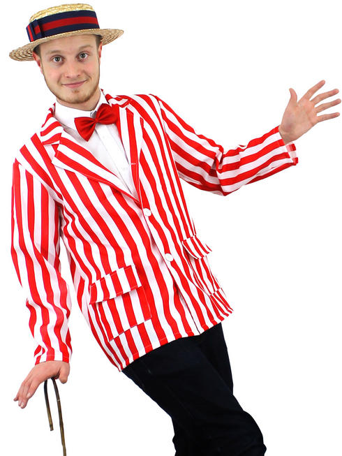 Men's Red & White Striped Blazer