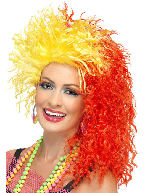 Ladies 80s Red & Yellow Crimped Wig