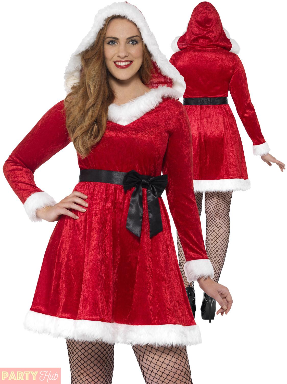 4e7072d7b1661 Details about Ladies Curves Miss Santa Costume Adults Christmas Fancy Dress Plus  Size Outfit