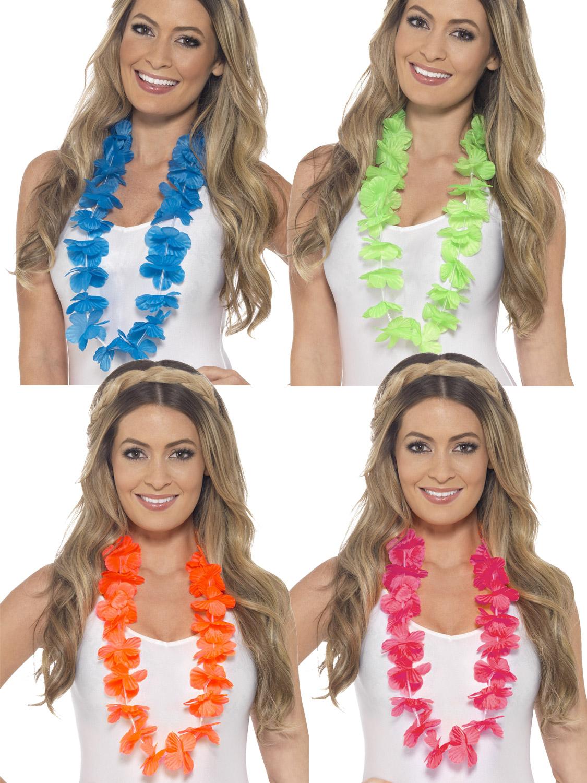 Hawaiian Lei Pink Orange Green Blue Hula Unisex Fancy Dress Accessory Garland