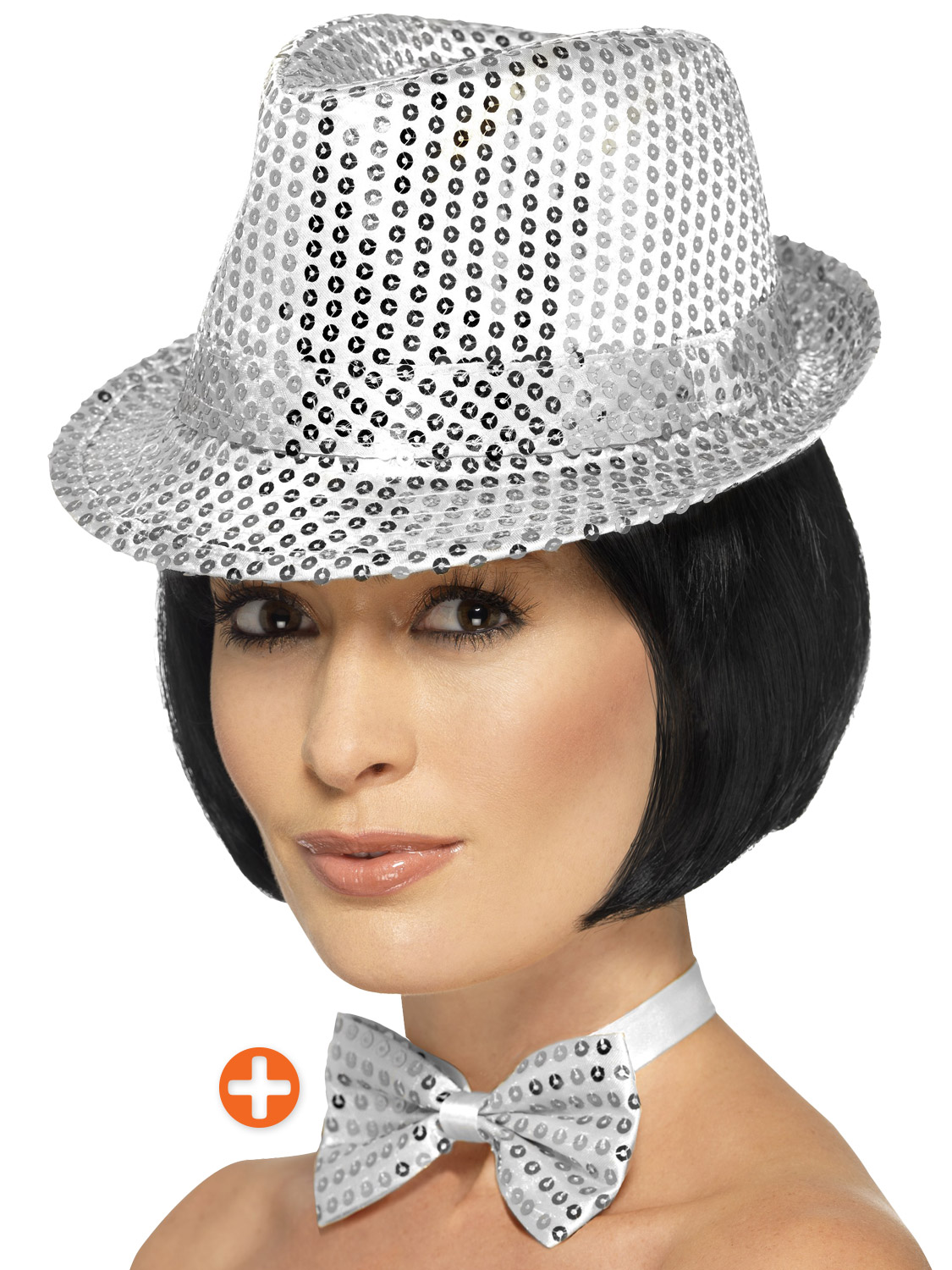 Silver Sequin Trilby Hat   Bowtie  46fc679fb322