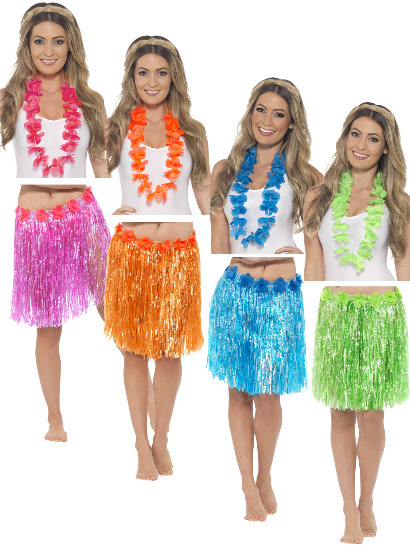 adults hawaiian grass skirt  lei mens ladies hula luau