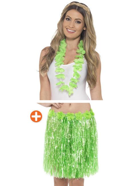 Green Hawaiian Hula Skirt with Flowers & Lei