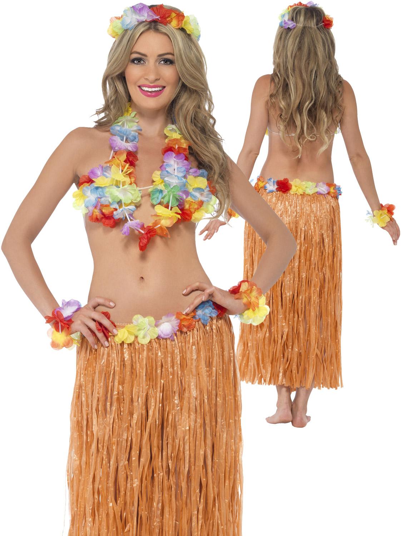 13c920de4 Details about Adults Hula Honey Instant Kit Hawaiian 5pc Fancy Dress Grass  Skirt Luau Outfit