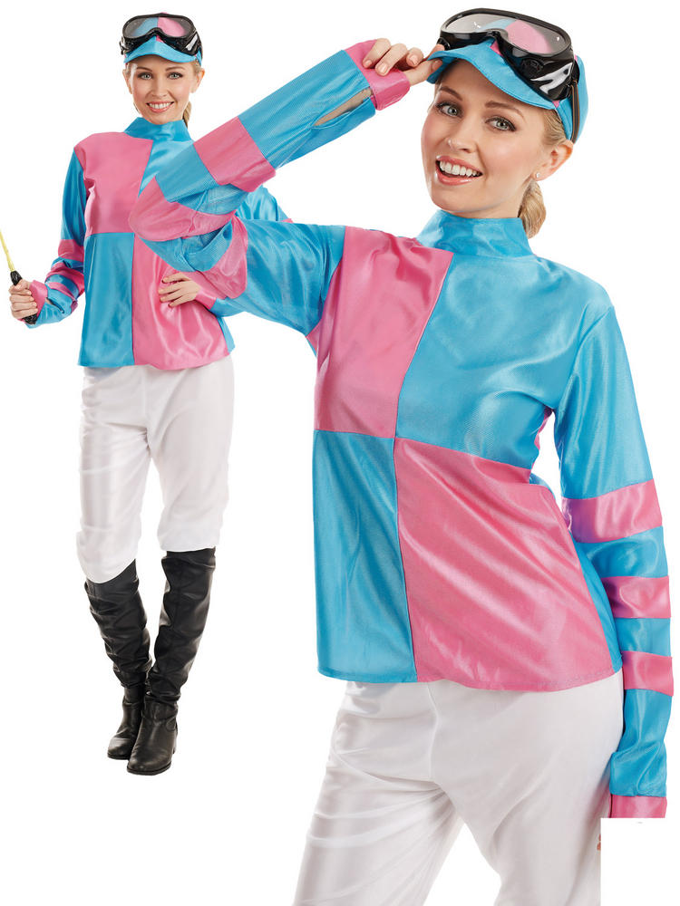 Ladies Pink & Blue Jockey Costume