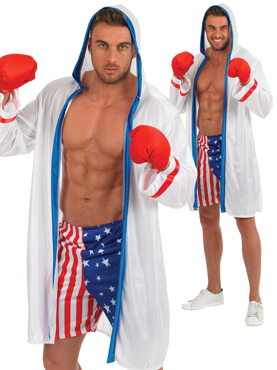 88d5685ae48c Details about Mens American Boxer Costume + Gloves Boxing Fancy Dress Sport  USA Outfit Rocky