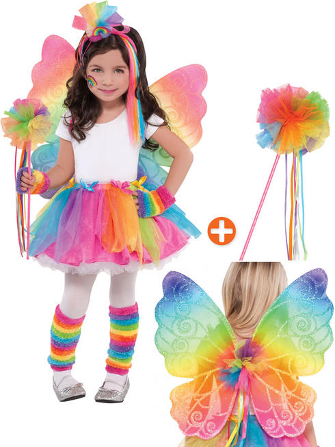 Rainbow Fairy Tutu, Wings & Wand