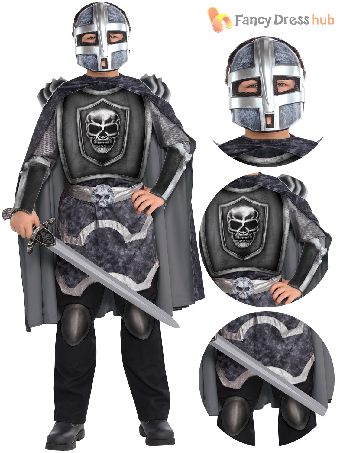Boys-Skeleton-Knight-Costume-Halloween-Fancy-Dress-Medieval-  sc 1 st  eBay & Boys Skeleton Knight Costume Halloween Fancy Dress Medieval Knight ...