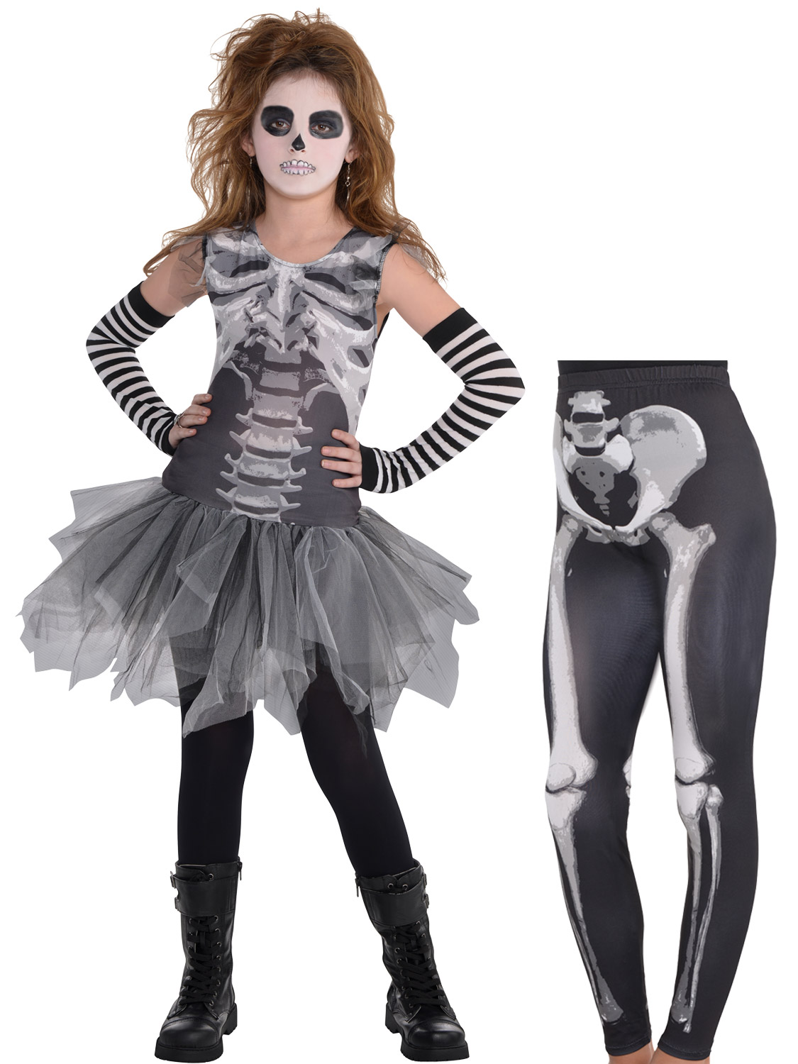girls black & bone skeleton tutu leggings fancy dress halloween