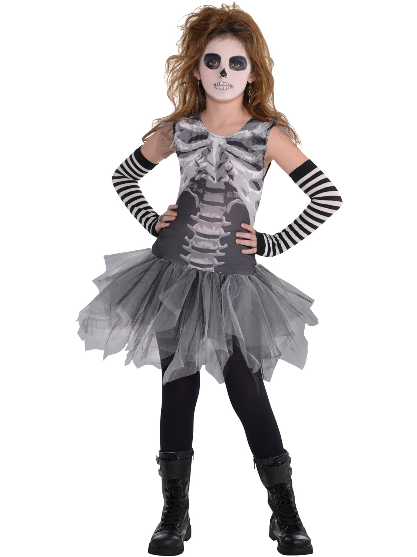 c9458d7a16272 Details about Girls Black & Bone Skeleton Tutu Leggings Fancy Dress  Halloween Costume Kids