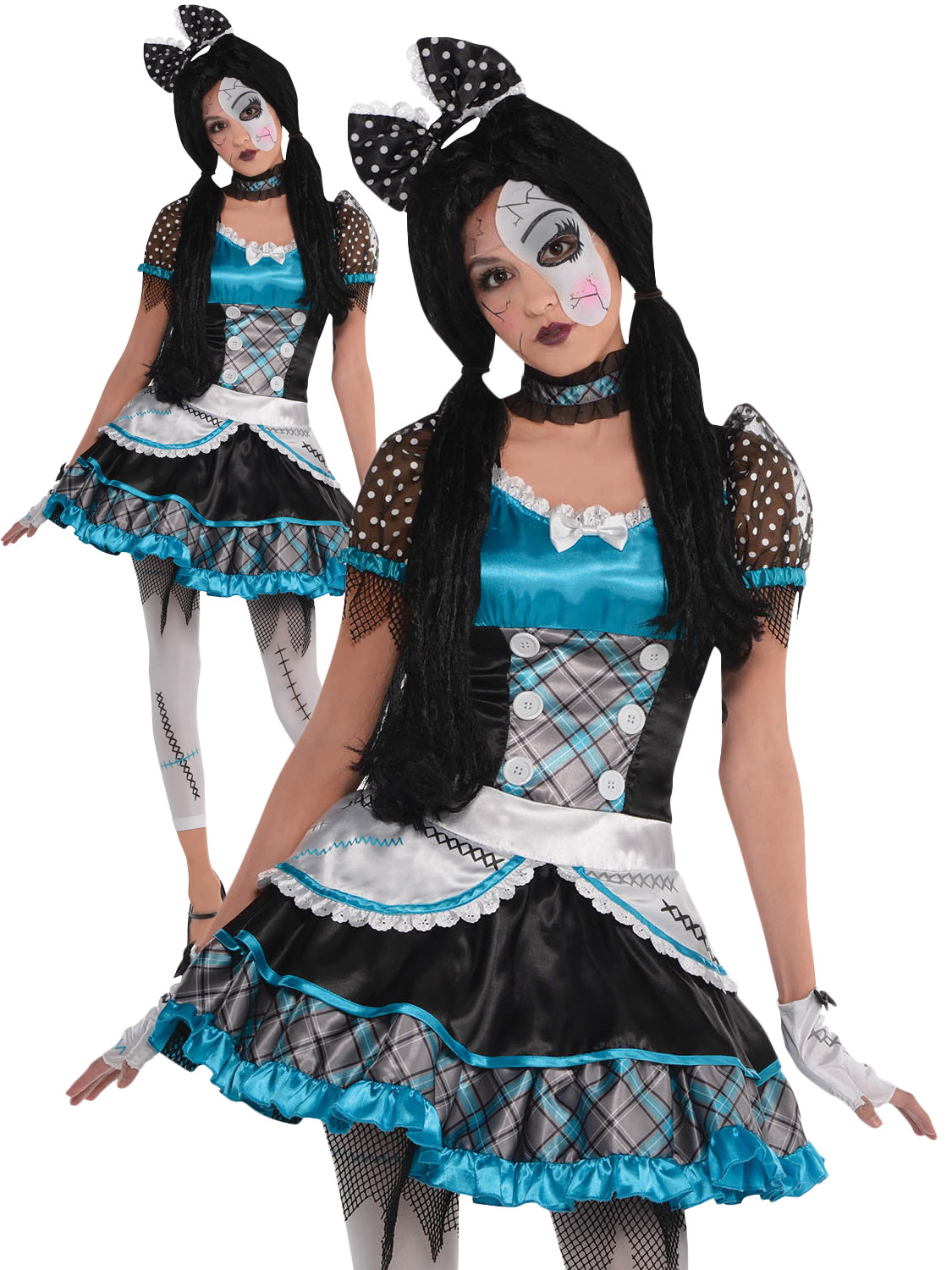 girls broken doll costume teen halloween fancy dress kids shattered