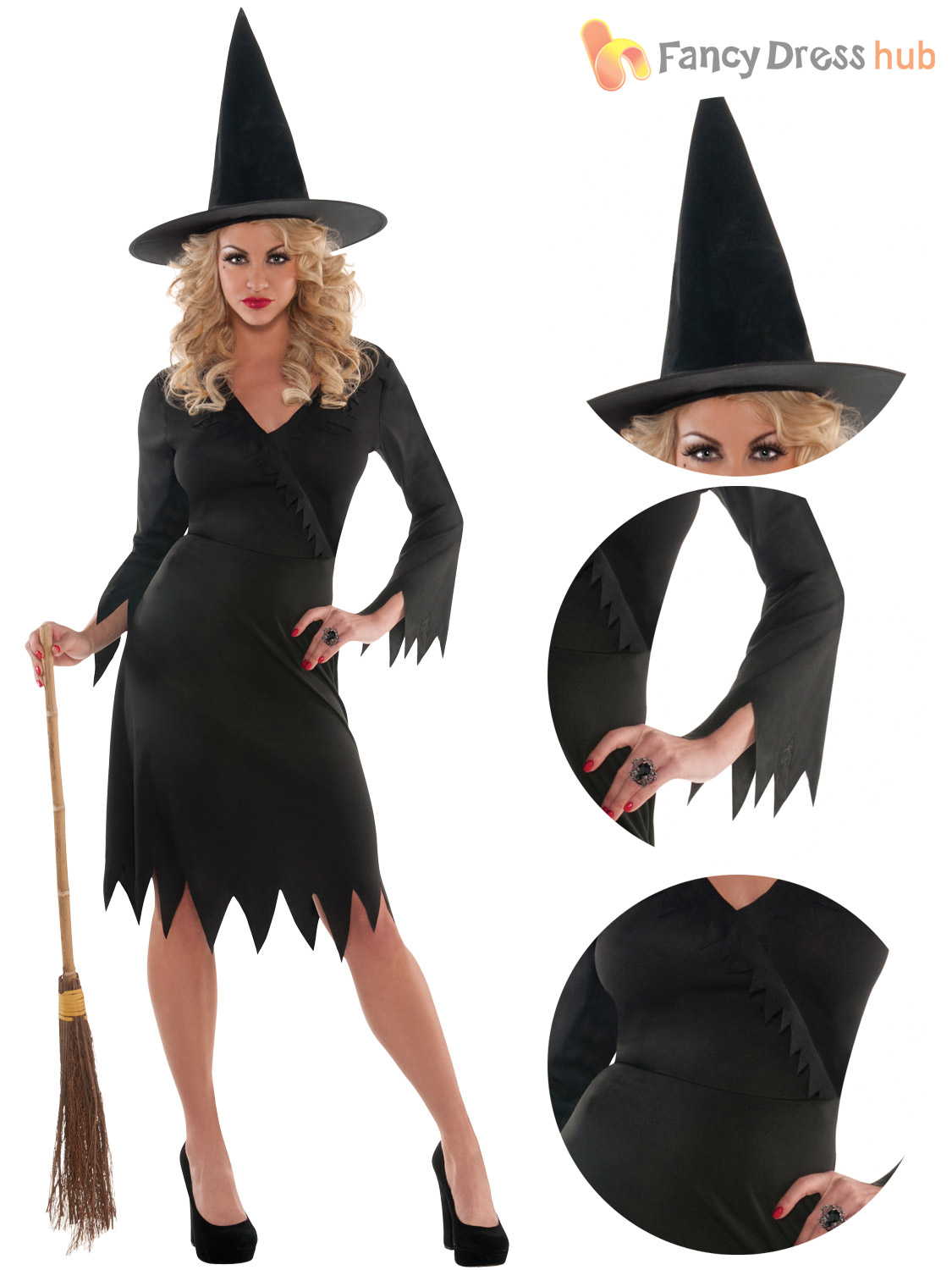 ladies wicked witch costume adults halloween fancy dress womens