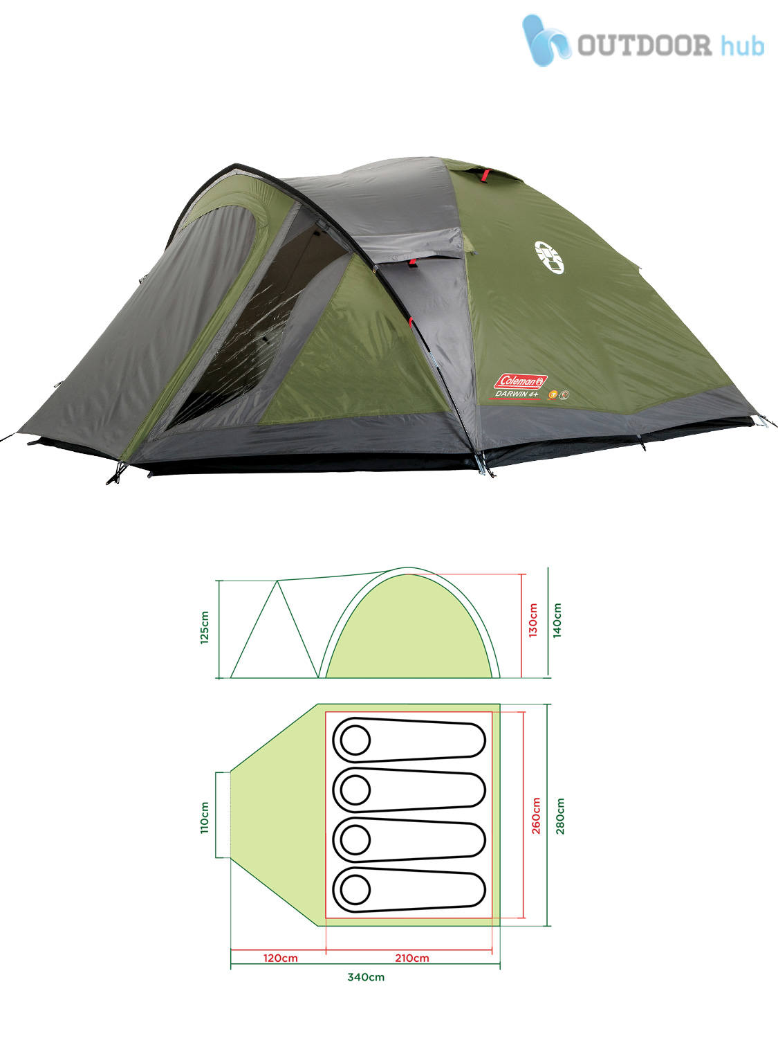 Coleman-Darwin-Plus-Tent-2-3-4-Man-  sc 1 st  eBay : 4 person tent with porch - memphite.com