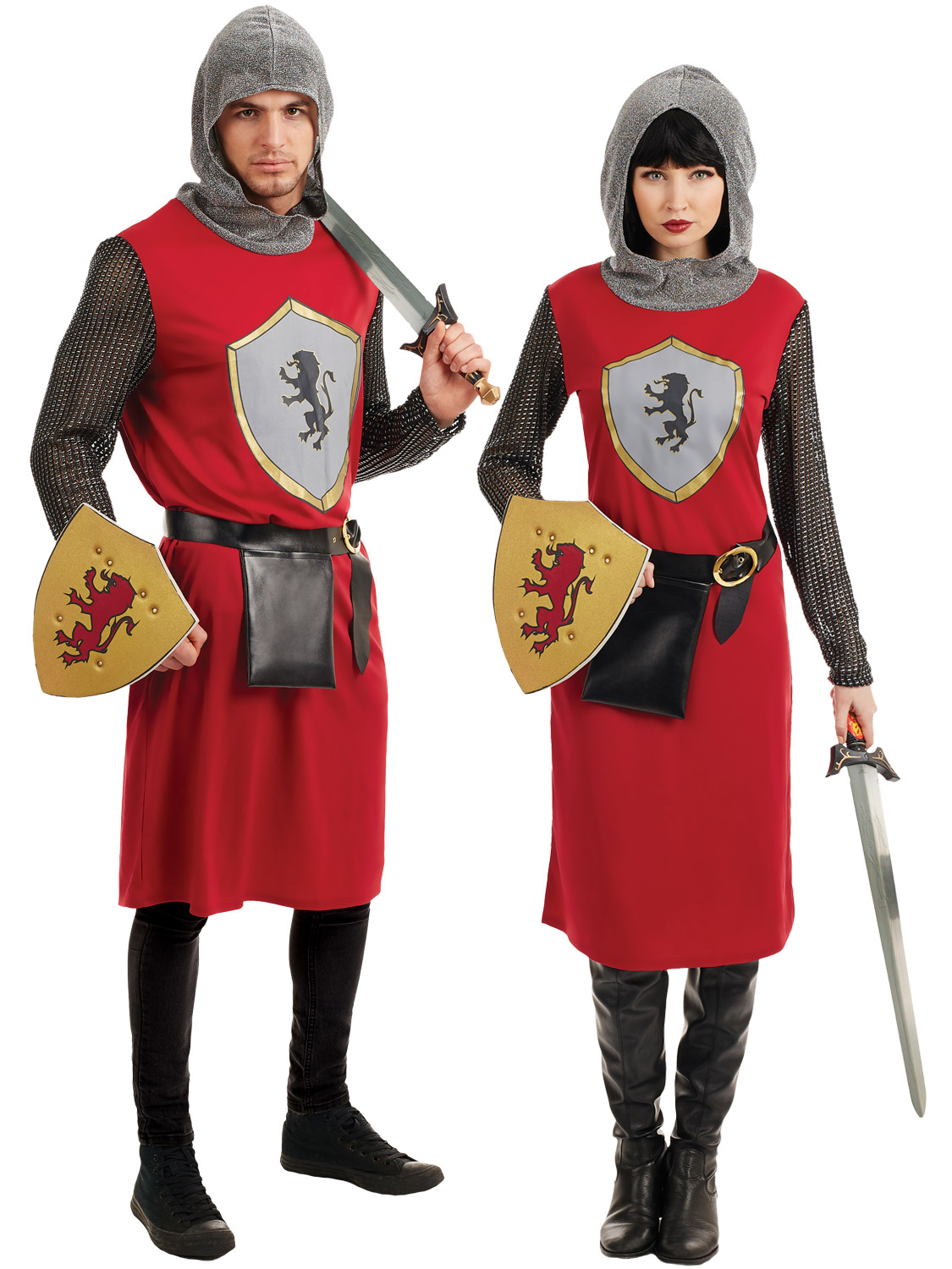 Mens Ladies Medieval Knight Costume Adult Crusader Couple ...
