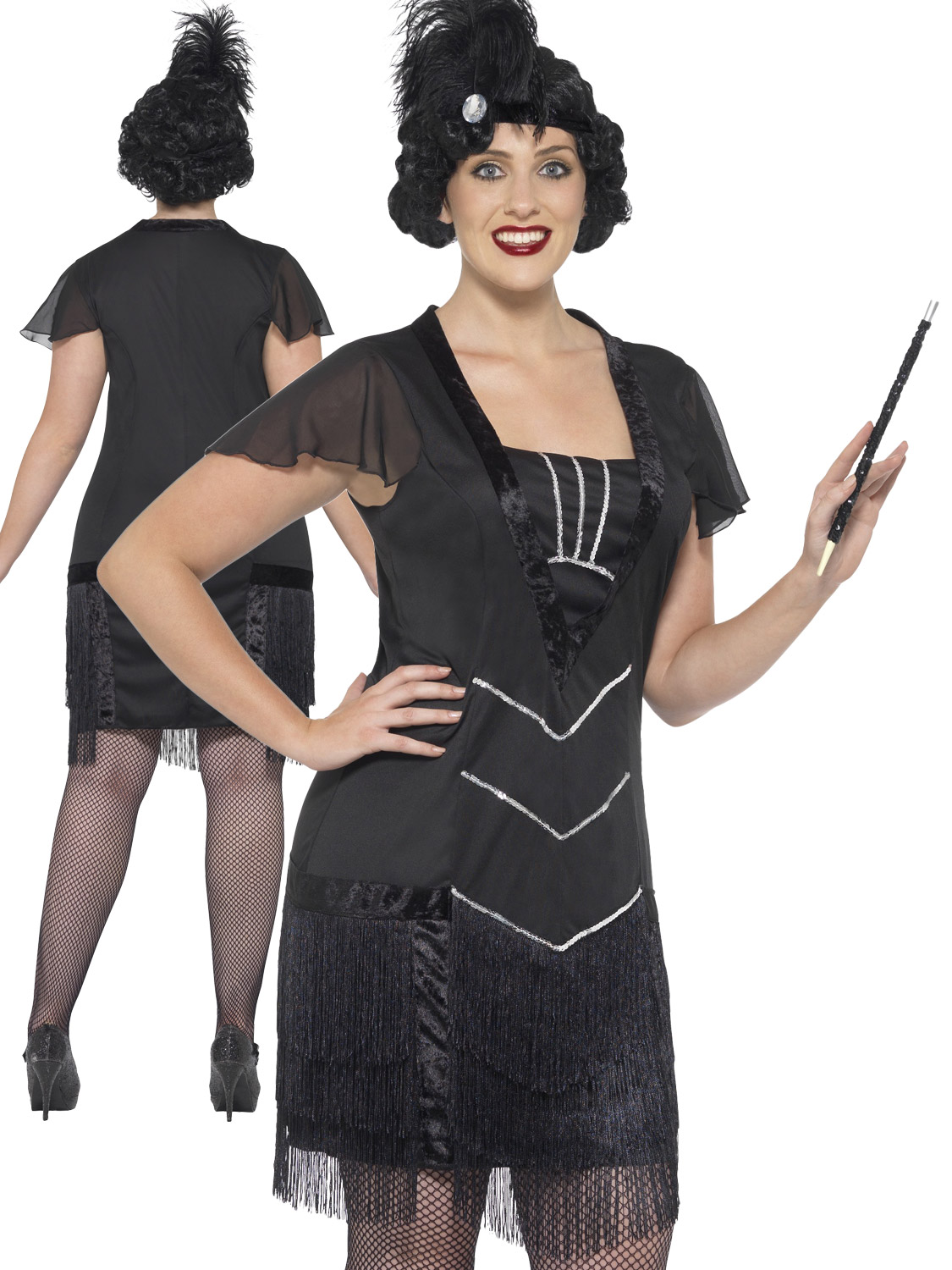 Ladies curves flapper costume adult charleston fancy dress plus size transform yourself into a sexy 1920s flapper with this ladies curves dress ideal if you are going to a great gatsby themed party solutioingenieria Gallery