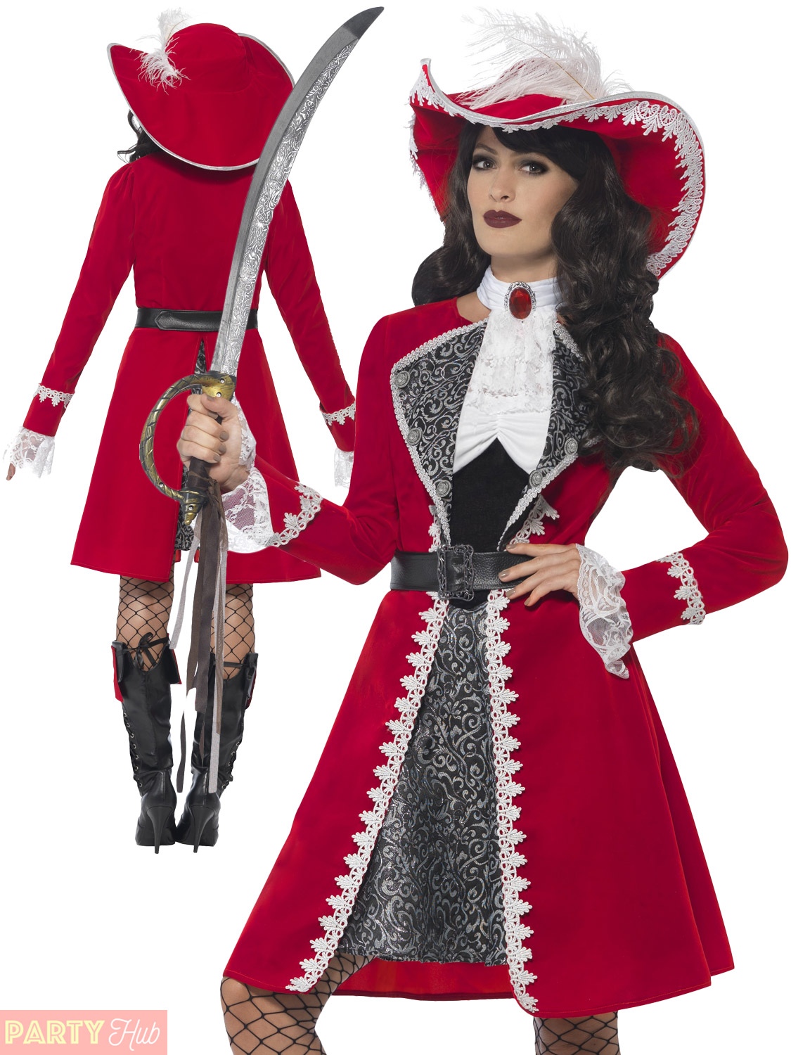 5b798a7a9 Details about Adults Deluxe Authentic Pirate Costume Ladies Mens Captain  Hook Fancy Dress Lady