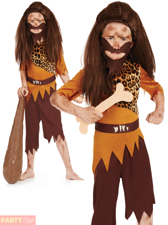 Childs-Caveman-Cavegirl-Costume-Boys-Girls-Stone-Age-Fancy-Dress-Kids-Outfit