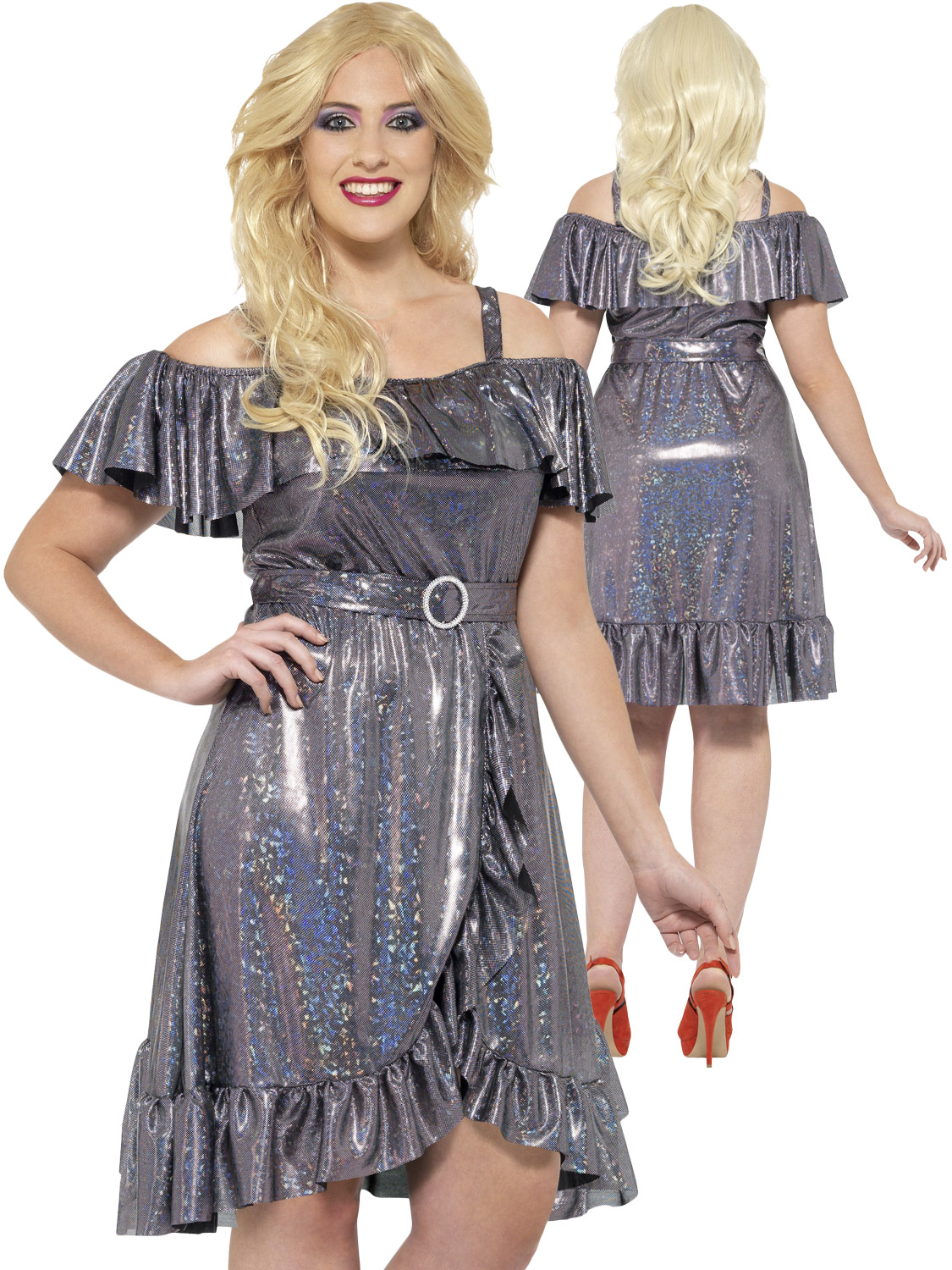 Details about Ladies Plus Size Disco Diva Costume 70s 80s Fancy Dress  Womens Size 16-30 Curves
