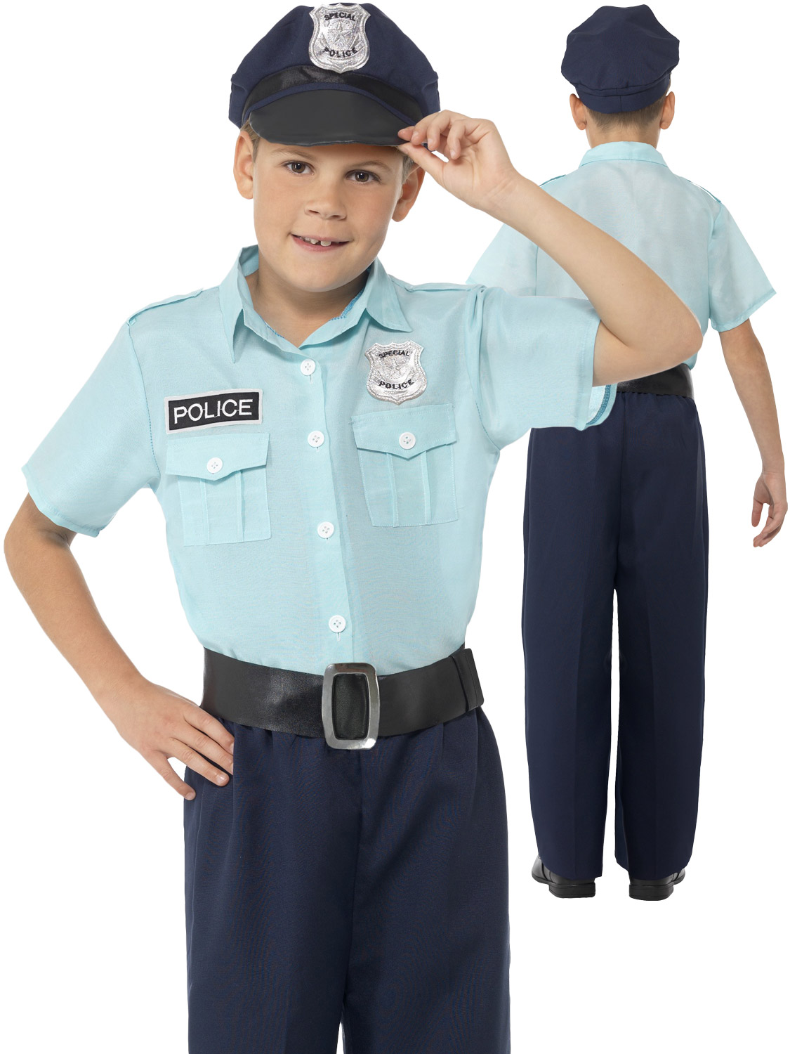 Boy 39 s police officer costume all children fancy dress hub - Police officer child costume ...