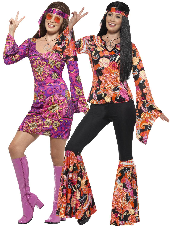 ladies hippie hippy flares + top costume adult 60s 70s fancy dress
