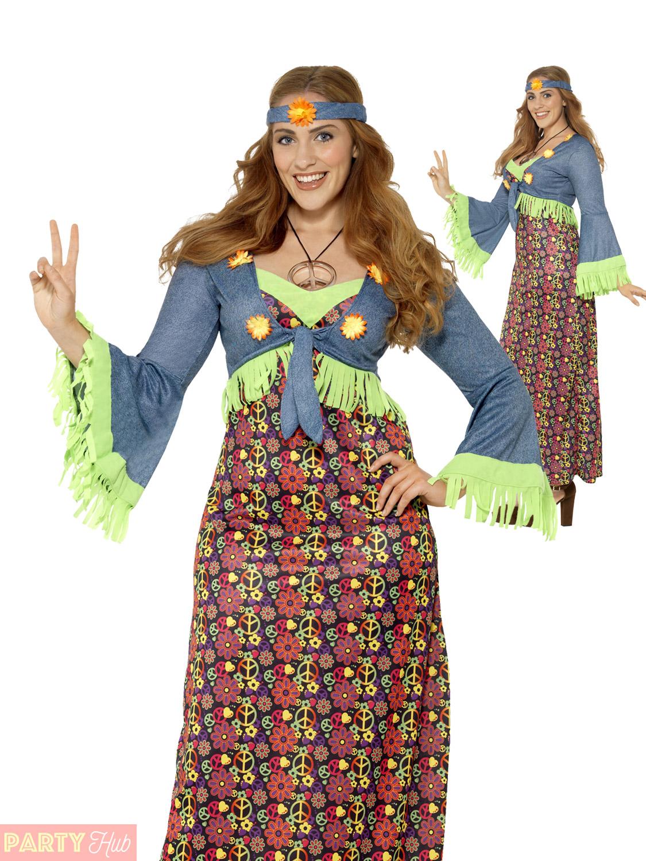 Adults Hippie Costume Mens Ladies Plus Size Hippy Fancy Dress 60s
