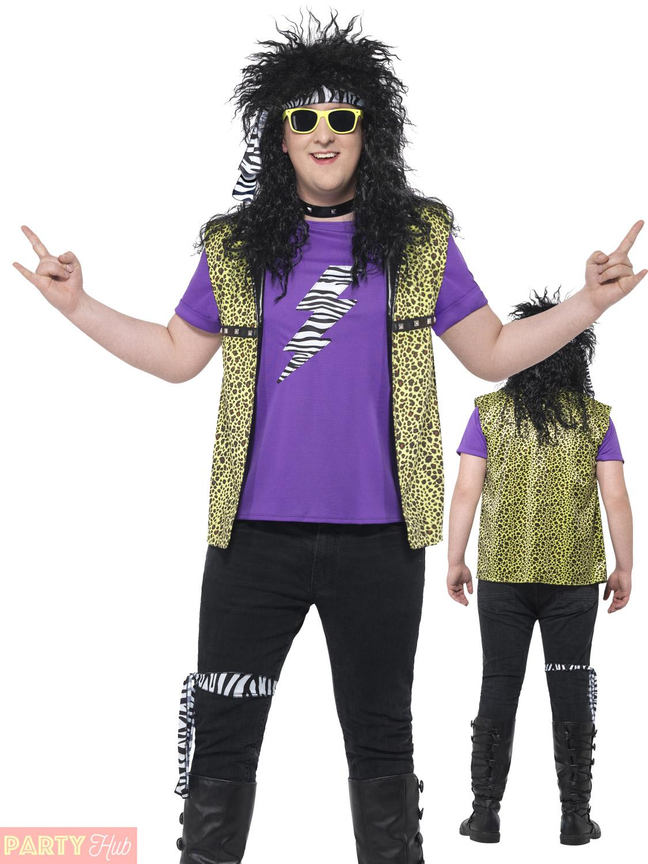 Adults 80s Rock Star Costume Mens Ladies Plus Size Fancy Dress