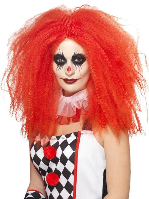 Ladies Red Crimped Clown Wig