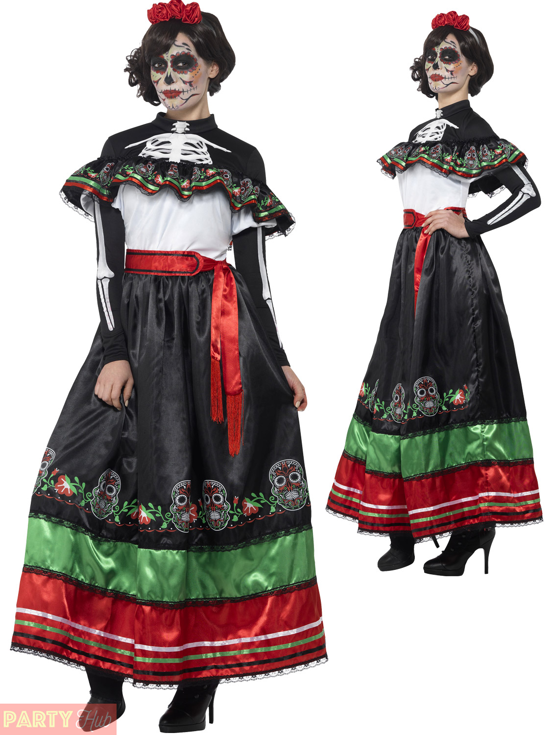 945d2724cabf Ladies Day of the Dead Senorita Costume Adults Mexican Halloween ...