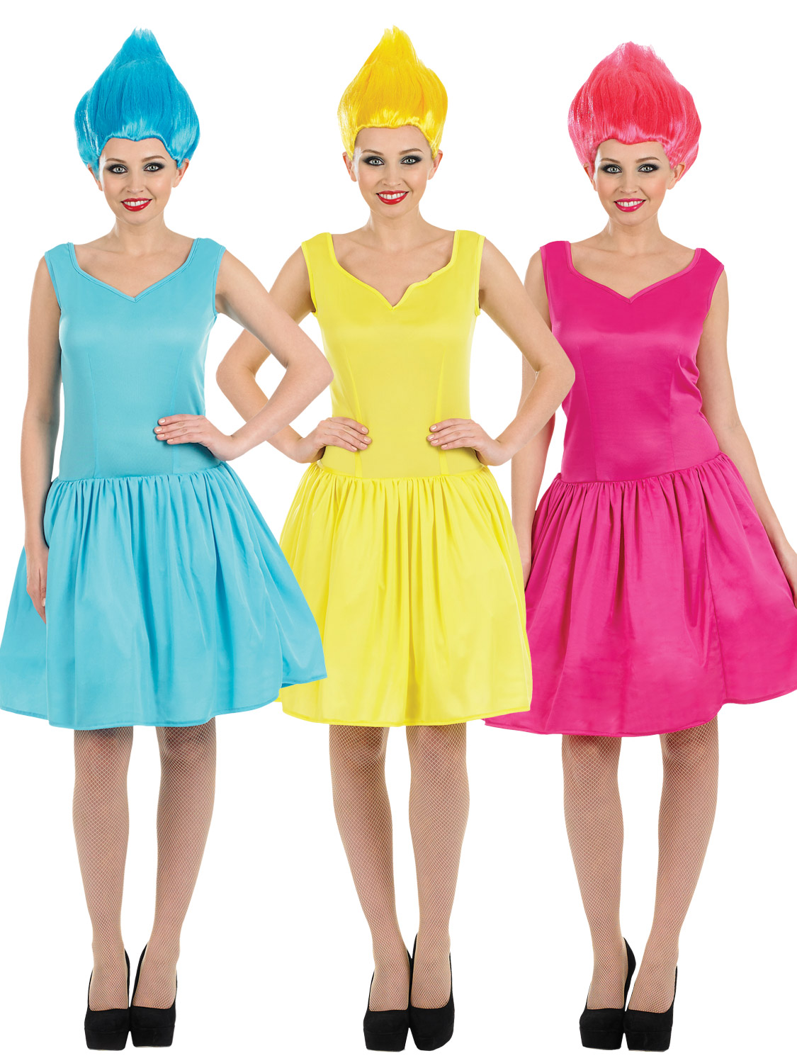b2f10e070928 Details about Ladies Neon Pixie Costume Adults Fairy Fancy Dress + Wig  Womens 90s Troll Outfit
