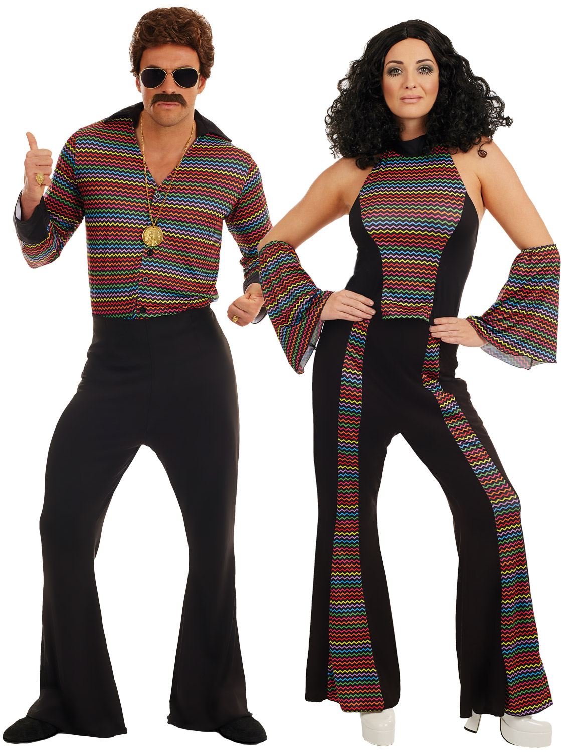 ... Womens 70s Outfit. Image 2  sc 1 st  eBay & Adults Disco Fever Costume Mens Ladies 1970s Diva Fancy Dress Womens ...