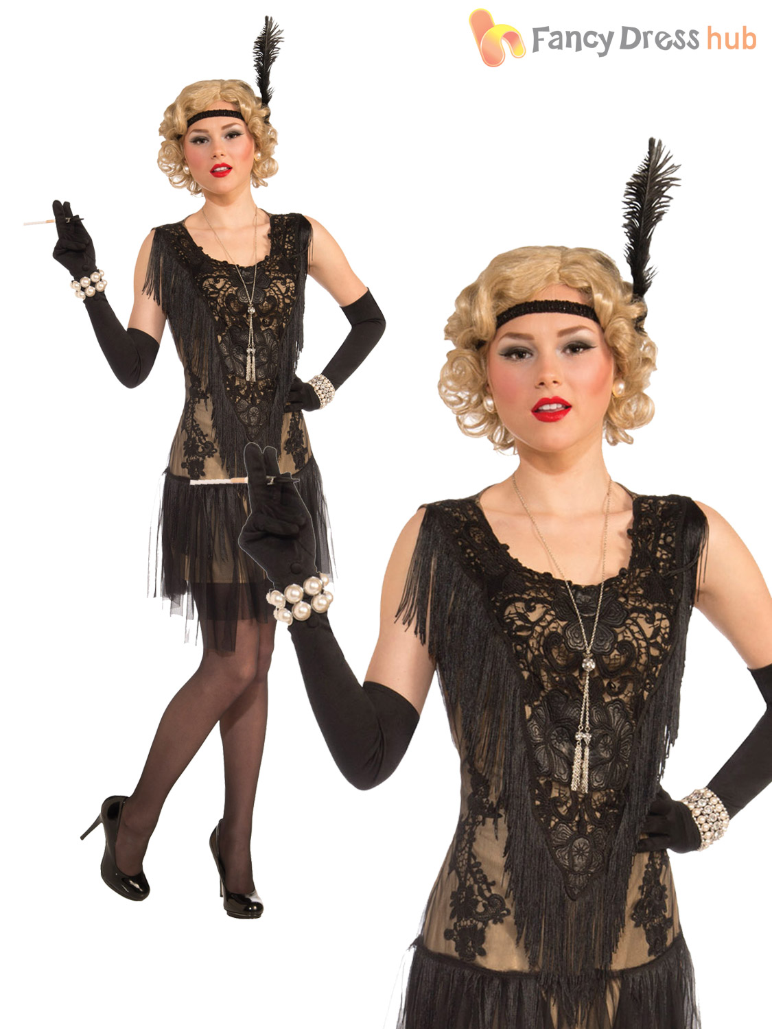 Ladies-Deluxe-Flapper-Costume-Womens-1920s-Great-Gatsby-  sc 1 st  eBay & Ladies Deluxe Flapper Costume Womens 1920s Great Gatsby Fancy Dress ...