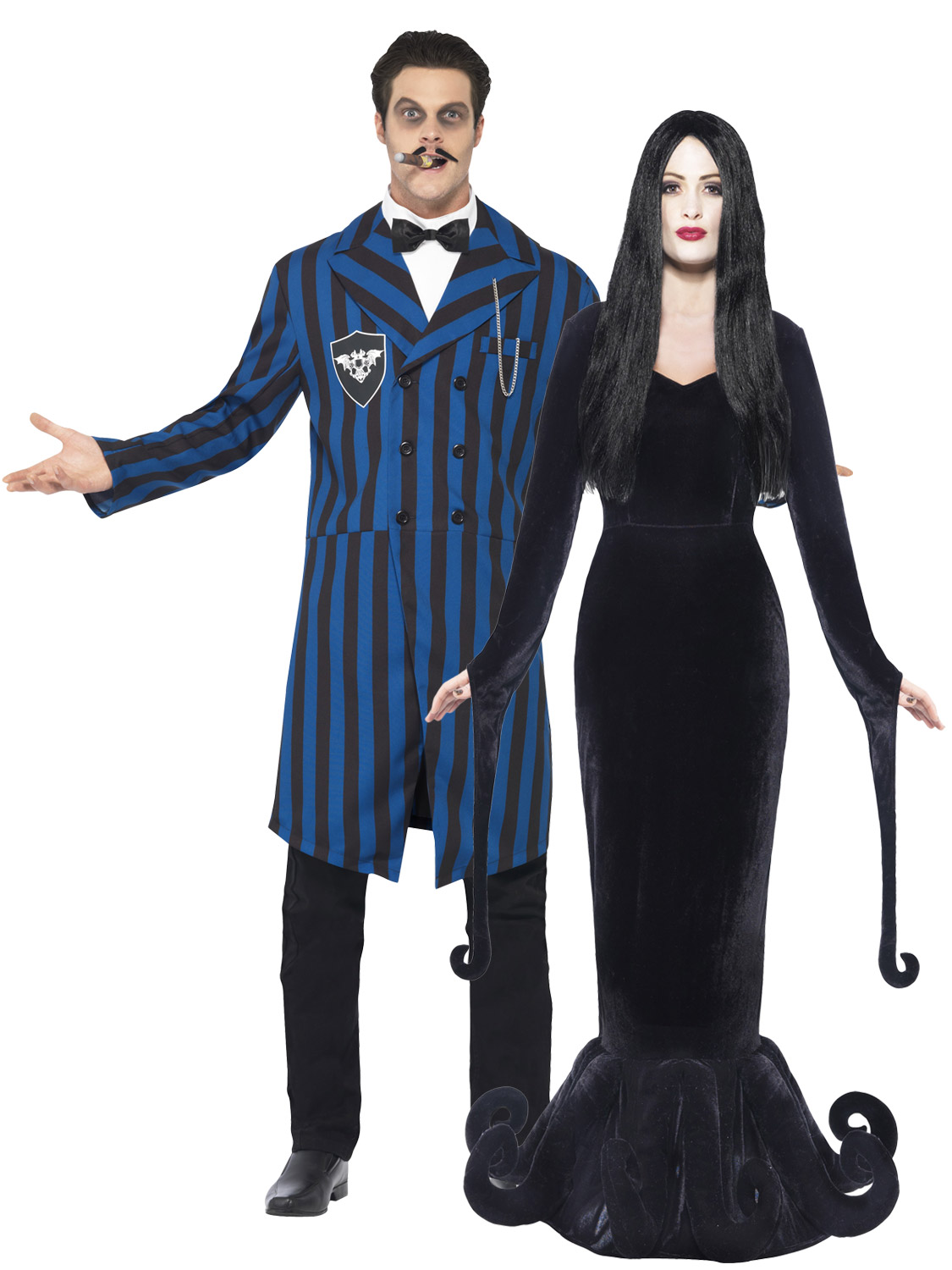Mens Ladies Gomez Morticia Couples Costume Adult Halloween -9929