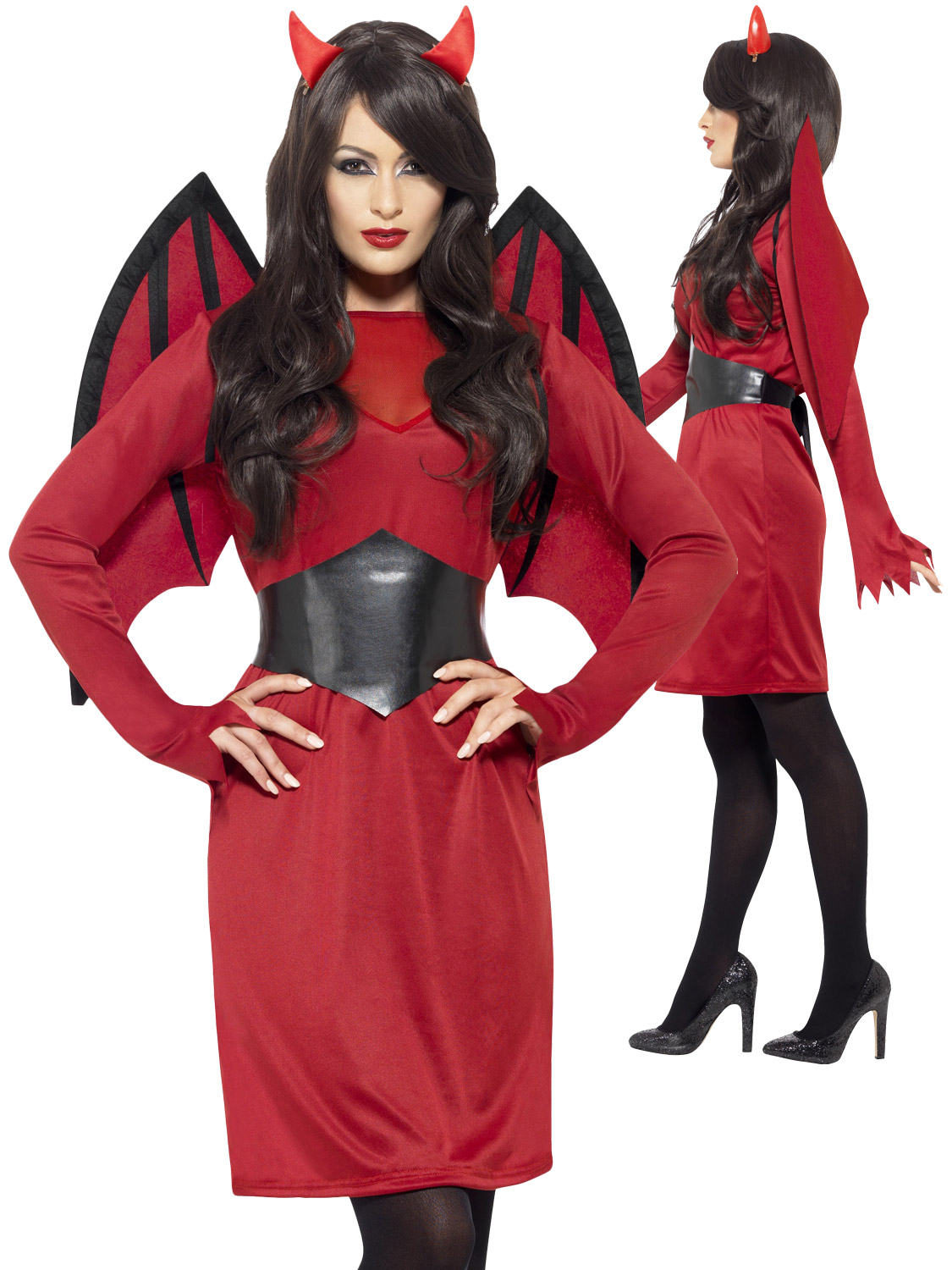 Ladies red devil costume wings horns womens halloween fancy transform yourself into a sexy devil with this ladies economy devil costume ideal if you are going to a halloween fancy dress party solutioingenieria Image collections