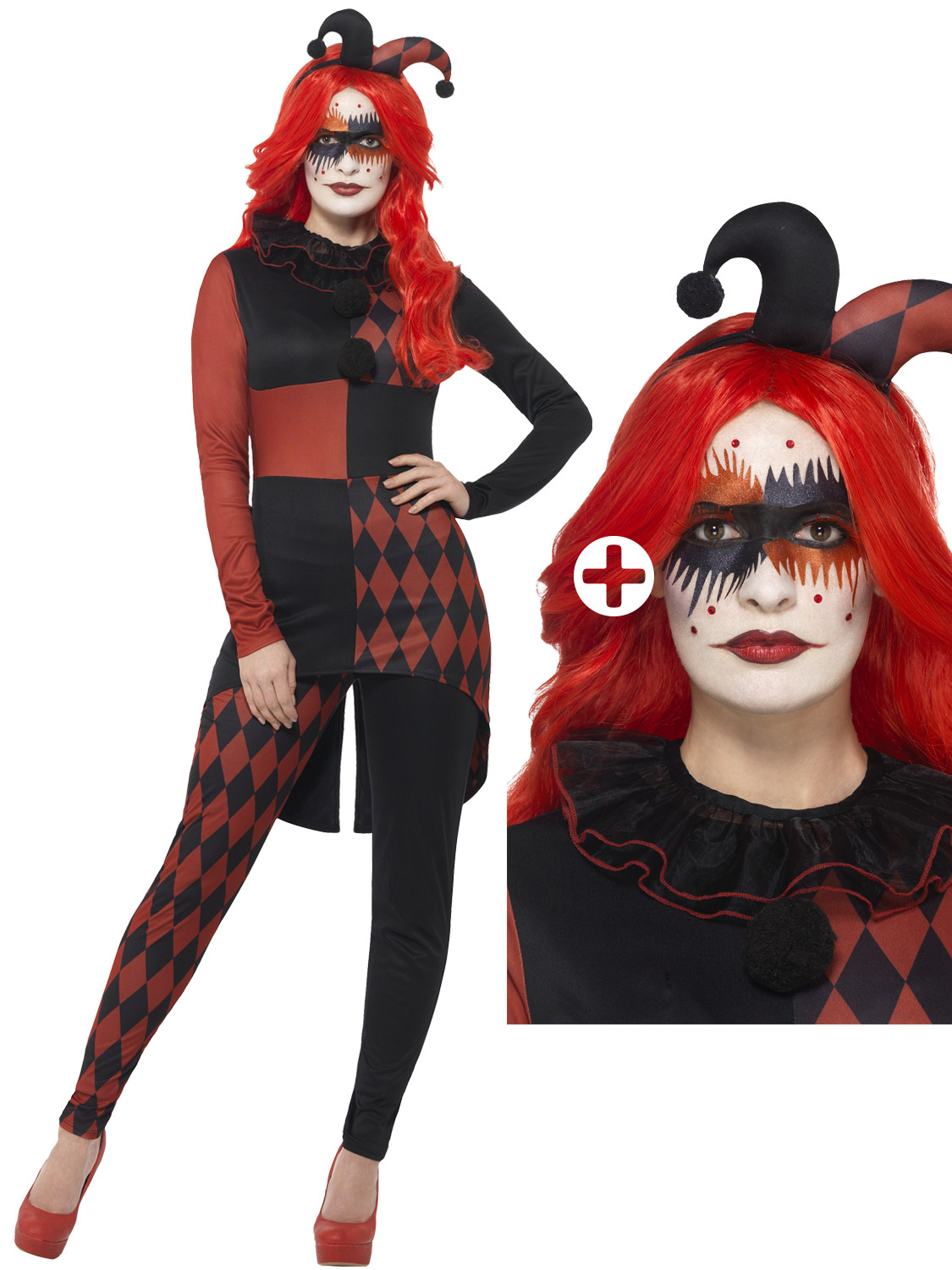 Ladies jester harlequin costume evil clown jesterina fancy dress transform yourself into an evil jester with this ladies horror harlequin costume ideal if you are dressing up for halloween solutioingenieria Image collections