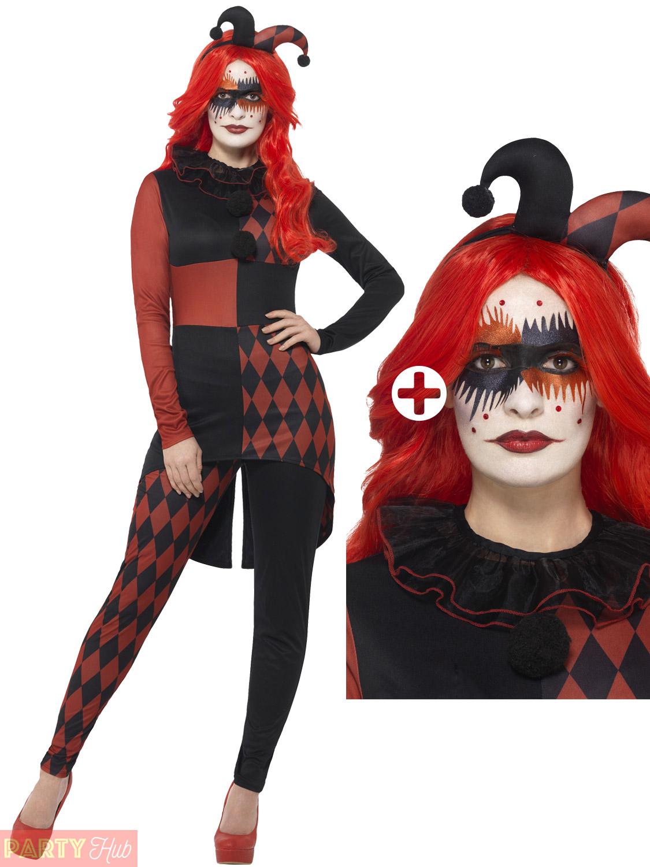 Ladies-Jester-Harlequin-Costume-Evil-Clown-Jesterina-Fancy-  sc 1 st  eBay & Ladies Jester Harlequin Costume Evil Clown Jesterina Fancy Dress ...