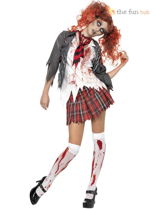 Adult-Ladies-Zombie-School-Girl-Cheerleader-Womens-Halloween-  sc 1 st  eBay & Adult Ladies Zombie School Girl Cheerleader Womens Halloween Fancy ...
